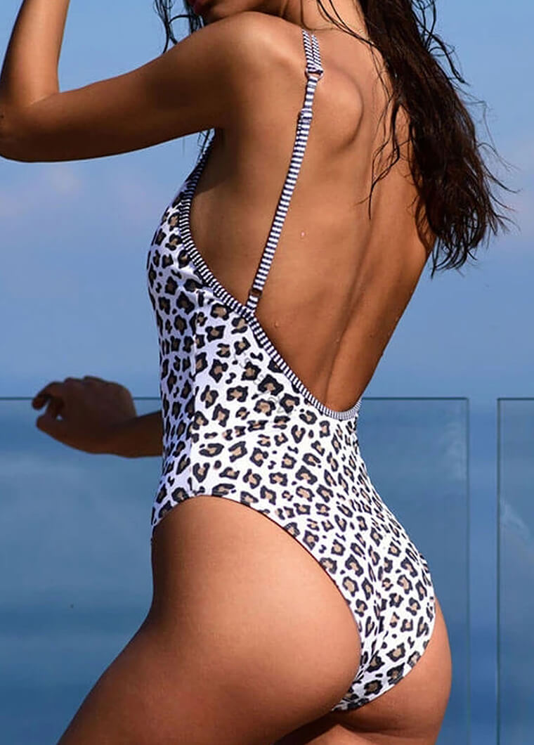 Double Strap  Leopard  Print One Piece