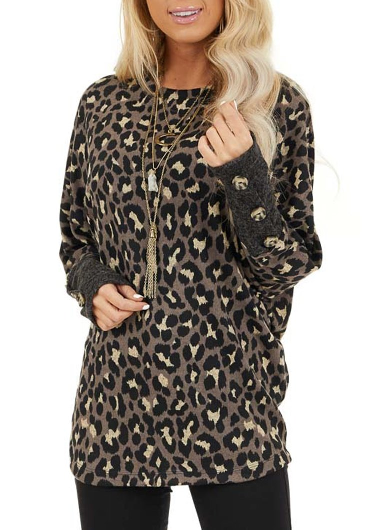 Leopard Printed Button Long Sleeve Top
