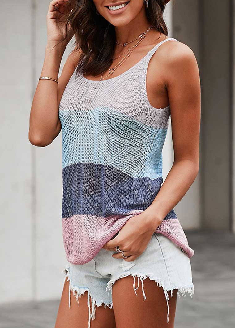 Gray Color Block Striped Knit Tank Top - fashionyanclothes