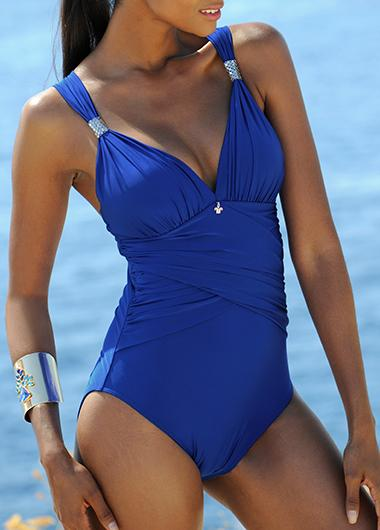 V Neck Blue One Piece Swimwear - fashionyanclothes