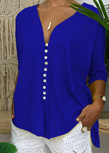 Lace Sleeve V Neck  Button T-shirt - fashionyanclothes