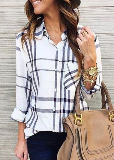 Long Sleeved Checked Blouse - fashionyanclothes
