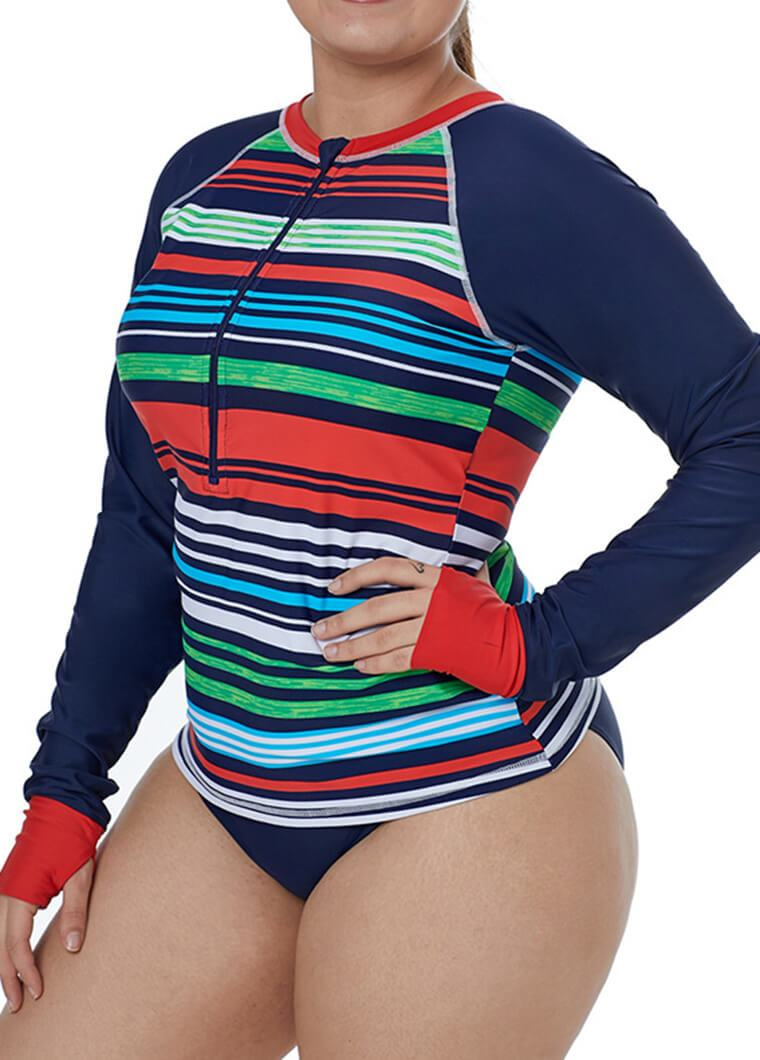 Plus Size Rainbow Striped Wetsuit