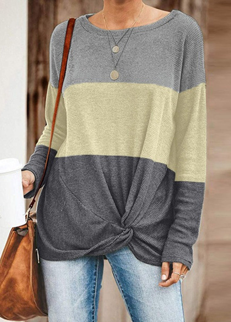 Color Block Knitted  Long Sleeve T-shirt - fashionyanclothes
