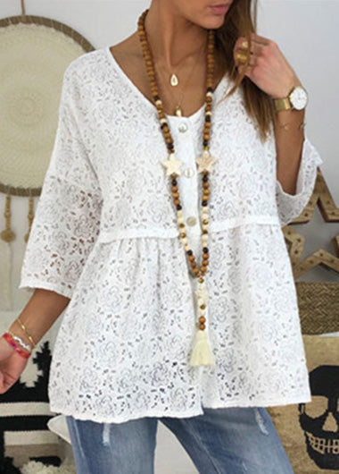 Loose Solid  Round Neck Lace Top - fashionyanclothes