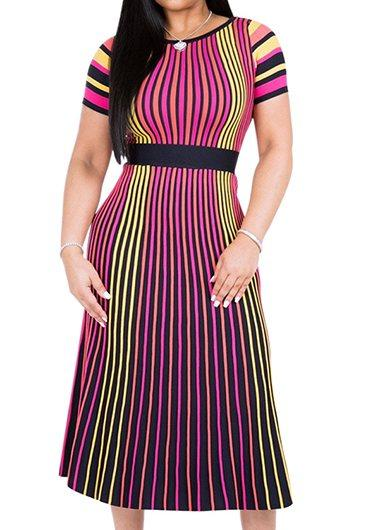 High Waist Stripe Print Dress 2019 - fashionyanclothes