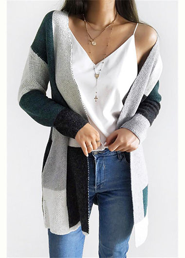 Knit Multi color Long Sleeve Cardigan - fashionyanclothes