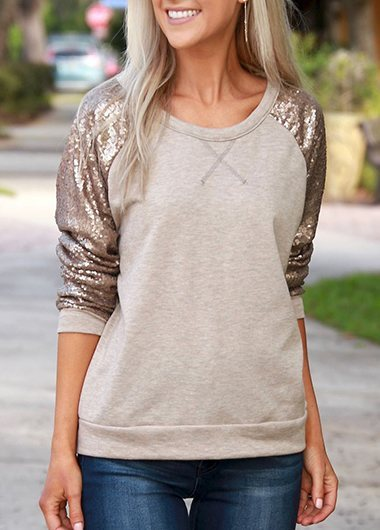 Sequins Decorated T Shirt
