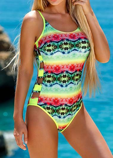 Scoop Back Printed One Piece Swimwear - fashionyanclothes