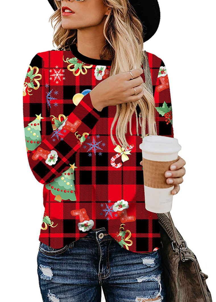 Christmas Plaid Printed Long Sleeve top