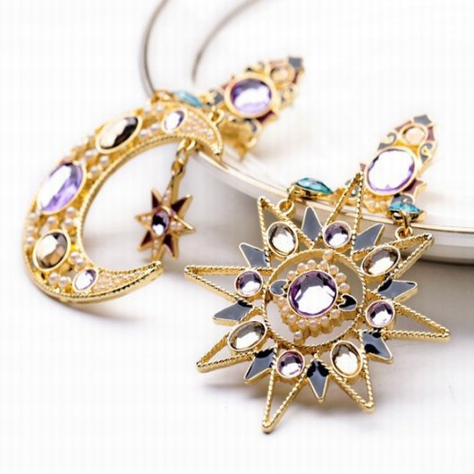 Rhinestone Design Sun and Moon Metal Pendant Earrings