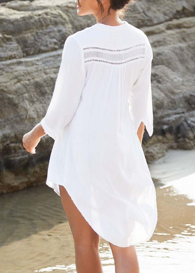 Asymmetric Hem Button Up White Cover Up - fashionyanclothes