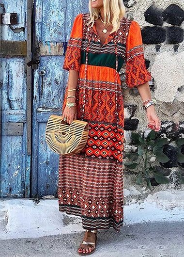 V Neck Bohemian Printed MxiDress - fashionyanclothes