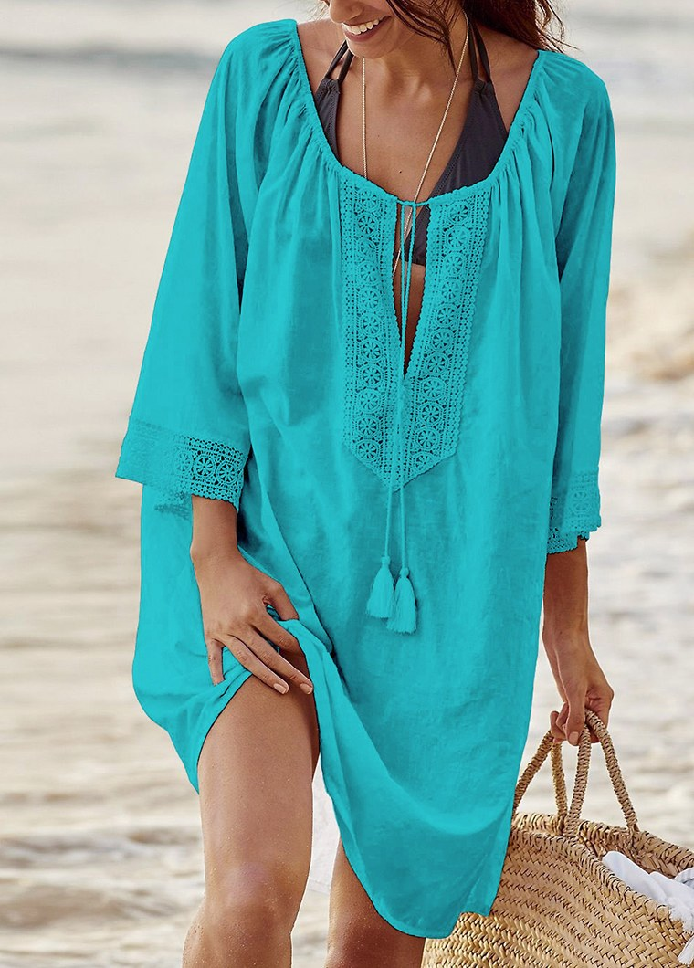 Tassel Tie Cotton Loose Beach Cover Up - fashionyanclothes