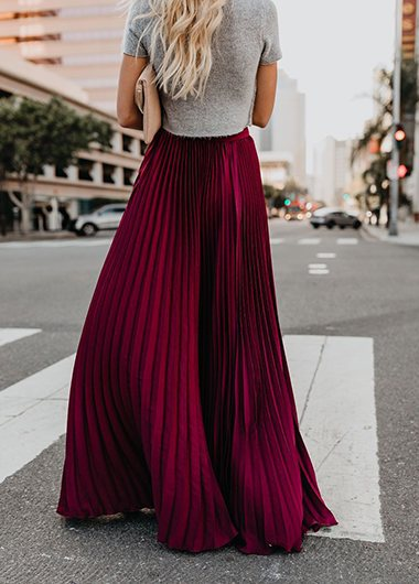 Mid-high Waist Pleated  Skirt