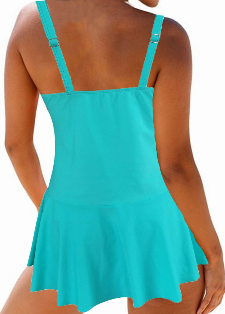Wide Strap Ruched Swimdress and Panty
