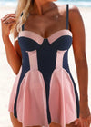 Patchwork Spaghetti Strap Swimdress and Panty - fashionyanclothes