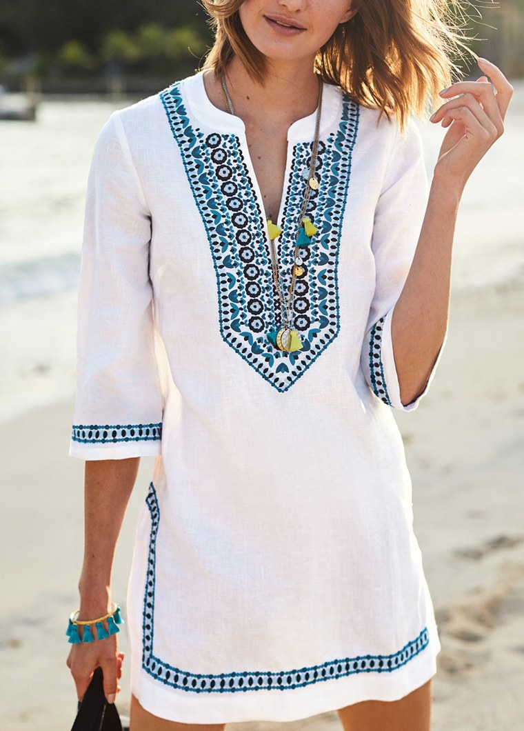 Split Neck Three Quarter Sleeve Beach Wear - fashionyanclothes