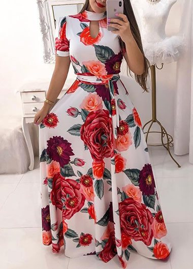High Waist Printed Plus Size Maxi Dress - fashionyanclothes