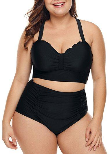 Black Plus Size Bikini Top and Panty - fashionyanclothes