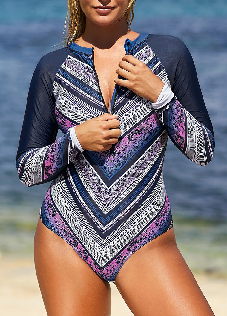Printed Zipper Surfing Rash Guard Swimsuit - fashionyanclothes