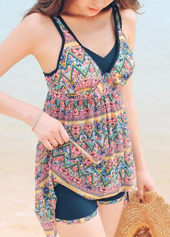 Printed Knot Push Up Tankini - esshe