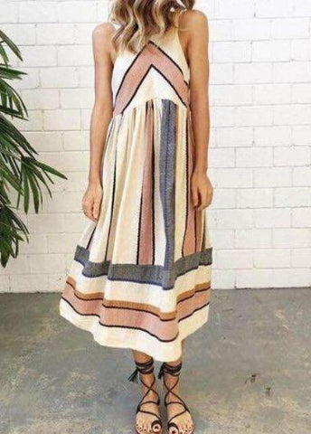O Neck Stripe Patchwork Summer Dress - esshe