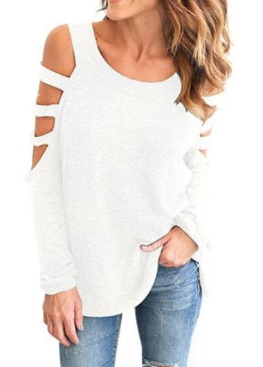 Hollow Out  Off The Shoulder T-Shirt - fashionyanclothes