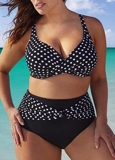 Polka Dot Backless High Swimsuit - esshe