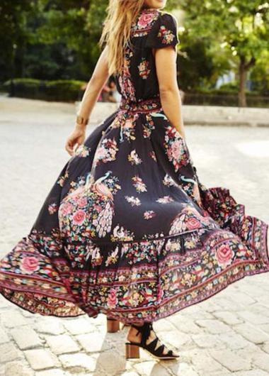 Vintage  Print Floral Party  Dress with Belt - esshe