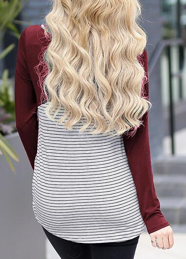Round Neck Long Sleeve Striped Blouse