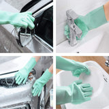 Magic Silicone Gloves wash Scrubber Glove for Dish Washing Cleaning Kitchen Household Washing The Car Pet Hair Care (Green)