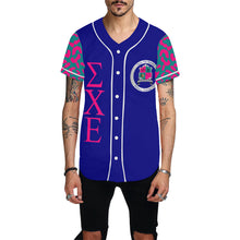 Load image into Gallery viewer, Sigma Chi Epsilon Navy All Over Print Baseball Jersey for Men (Model T50)