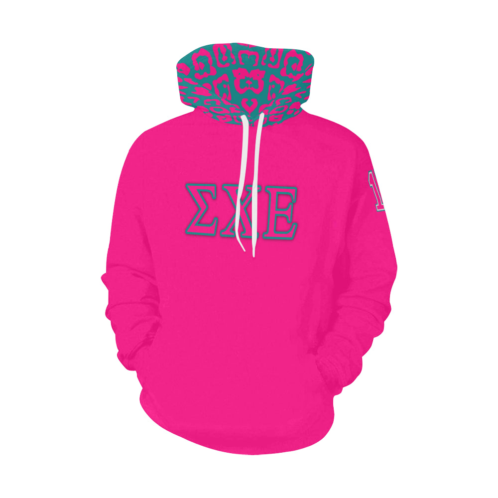 Sigma Chi Epsilon Came Through Drip Pink All Over Print Hoodie for Men (USA Size) (Model H13)