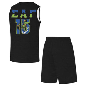Black SAG '15 All Over Print Basketball Uniform