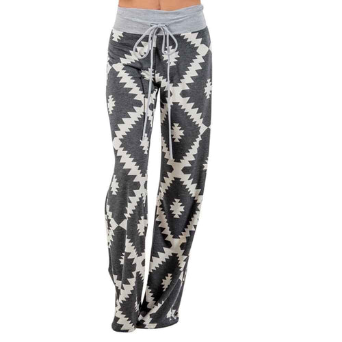 Women Geometry Printing Drawstring Wide Leg Pants Leggings