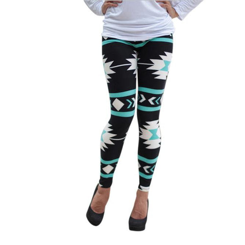 Skinny Geometric Print Stretchy Pants Leggings L