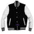 Men Real Leather Sleeve Varsity Baseball Bomber College Wool Jacket Blue & White