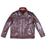 FiveStar Men Classic Vintage look Ranch Jacket Real Goatskin Leather