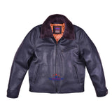 Men Winter Halfbelt Real Goatskin Leather Jacket with Mouton Fur Collar