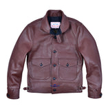 Men's Repro 1930s Vintage Cossack Real Steer hide Leather Jacket Russet Brown