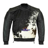 Real Genuine Cow Hair-on Leather Jacket men Padded Shoulders Natural Textured