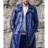 Men Real Real Hide Leather Embossed Jacket Coat Royal Blue