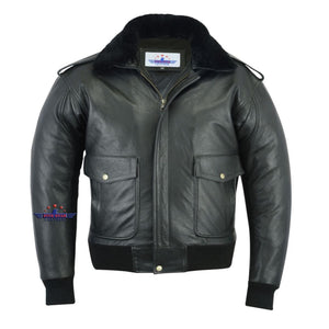 Men A2 Removable Real Fur Camel Collar Goat Leather Bomber Pilot Flying Jacket