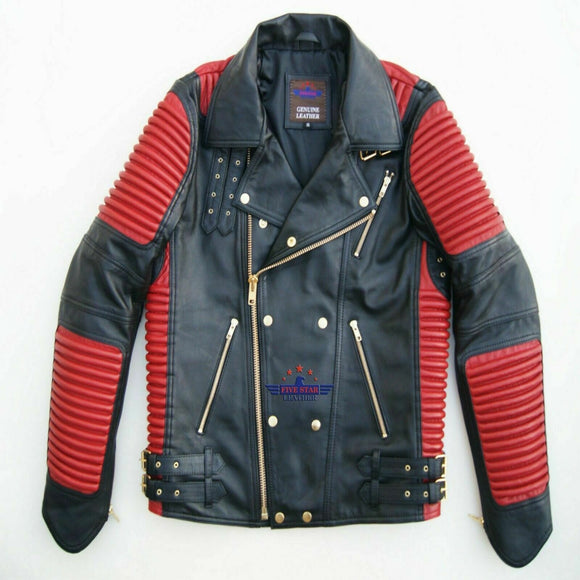 God Gift Men's Black and Red Motor Biker Real Leather Jacket SPEED Golden Zipper