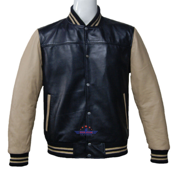 Men Real Soft Lamb Leather Puffer Varsity Baseball Bomber College Jacket School