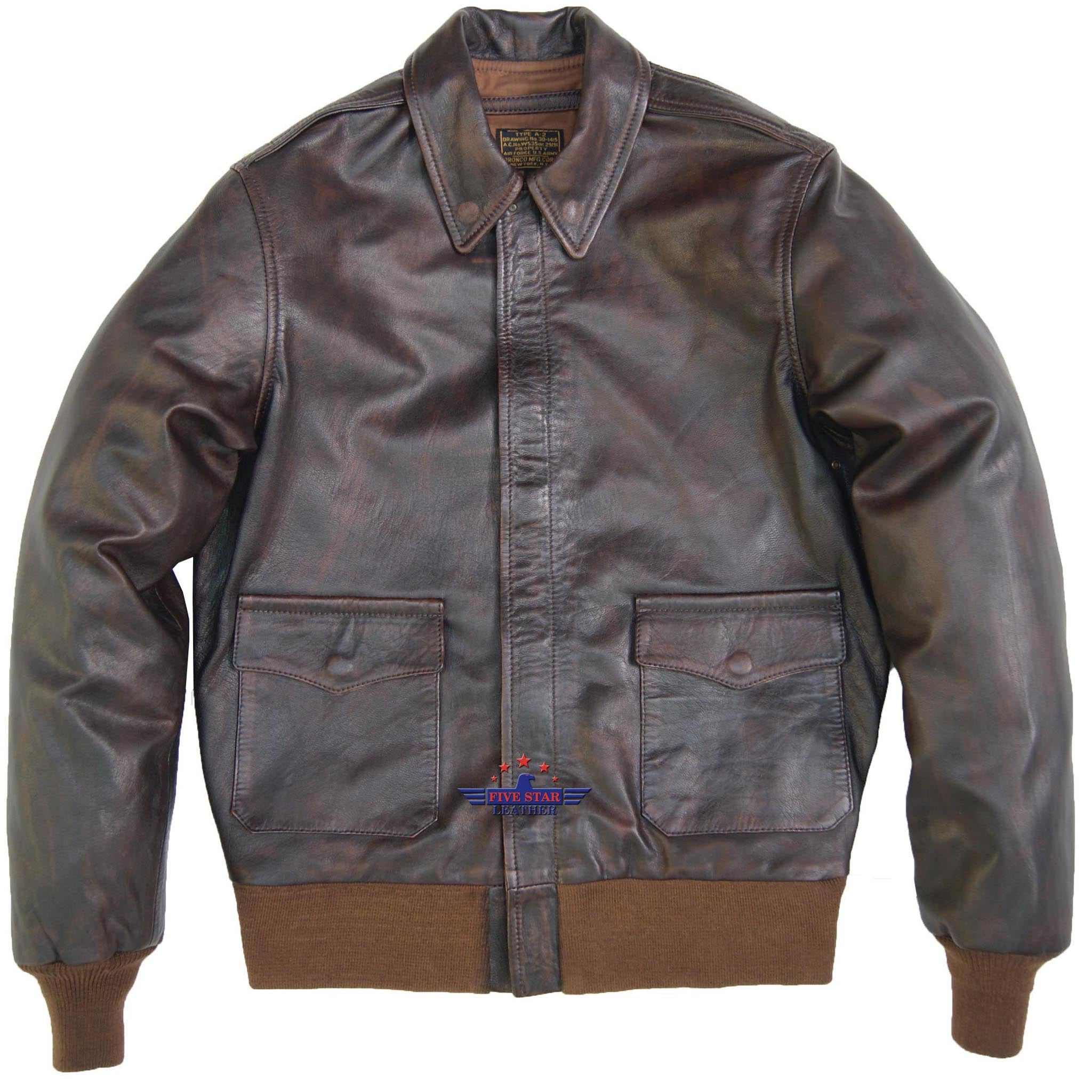 cd6fb9662 Men Type A-2 Repro Real Leather Brown Aviator flying Pilot Jacket Distressed