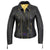 Women Real Leather Jacket Triple zip Biker style Padded Quilted Double Breasted