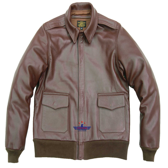 Men Repro A-2 Real Leather Russet Brown Pilot Fly Jacket Aviator Bomber AIR FORCE