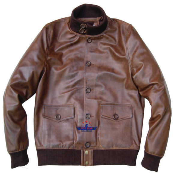 Flight A-1 Repro Military Aviation Captain Bomber Air Force Goat Leather Jacket